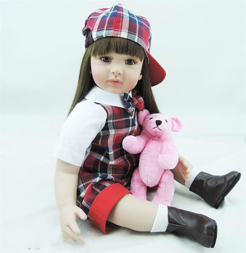 22inch Soft Vinyl Reborn Toddler Dolls Brinquedo Toddler Baby Dolls Girls Children's Day Gifts Toy Dolls In School Uniforms Doll