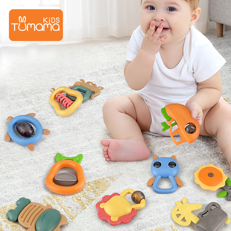 Baby Silicone Hand Bell Rattle Toys Teeth Soft Biting Teething Educational LC