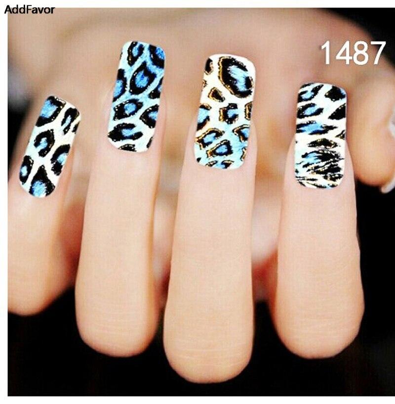 AddFavor 3 UNIDS Azul Negro Leopard Grano Del Clavo Etiqueta Engomada Del Arte d
