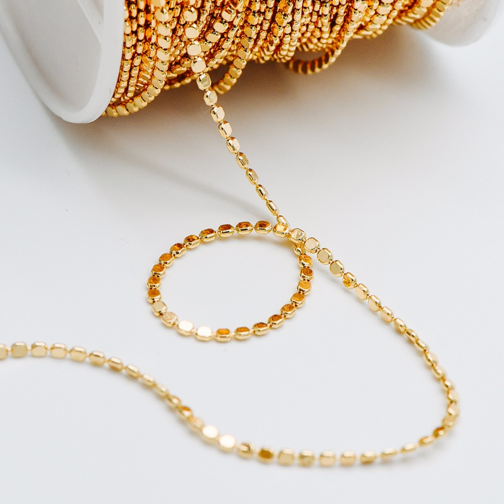 Gold Plated Brass Beaded Chains 2mm, Craft Jewelry Chain (#LK-198)/ 1 Meter=3.3 Ft