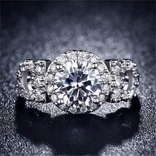 100% reinem Silber Filled Verlobungsringe Für Frauen CZ Diamant Schmuck Luxus Hochzeit Bague Bijoux Klassische Zubehör AR101