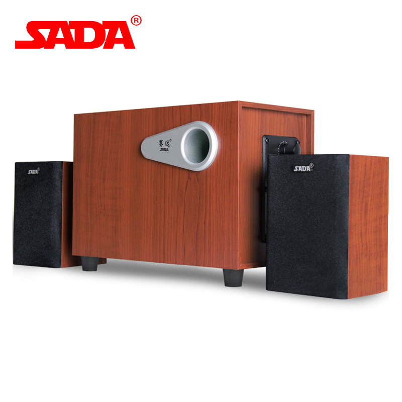 SADA D 200E 3D Surround Subwoofer Stereo Heavy Bass PC Computer Wooden USB Speaker Wood Speakers