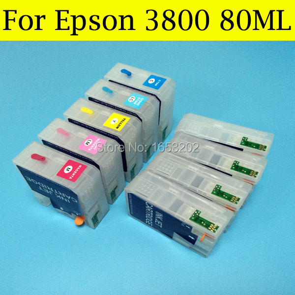 ФОТО 1 Set 80ML High Quality Ink Cartridge For Epson 3800 Refill Ink Cartridge T5801-T5809 T5802 For Epson 3800 Printer