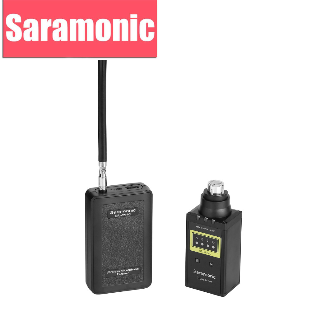 Saramonic SR-WM4CB Wireless Microphone System with XLR Plug-in Transmitter for Canon Nikon DSLR Camera Camcorder Youtube Video free shipping 1038 professional portable wireless microphone system with bodypack transmitter for dv dslr camera camcorder