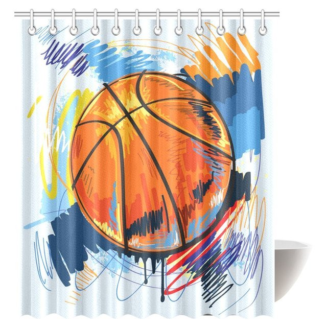 Aplysia Sports Shower Curtain Basketball Colorful Sketch Enjoyment Artful Doodle Curtains