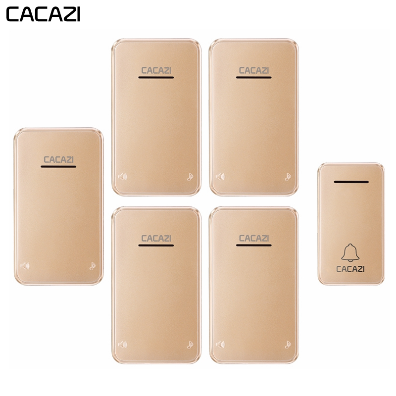CACAZI Wireless Doorbell Waterproof Self-powered 1 No battery Button 5 Receivers Led light Home Door bell chimes US EU PlugCACAZI Wireless Doorbell Waterproof Self-powered 1 No battery Button 5 Receivers Led light Home Door bell chimes US EU Plug