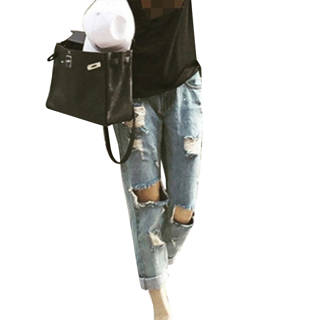 Hollow Out Women Ripped Hole Jeans Low Waist Zipper Fly Ripped Denim Summer Slim Pants