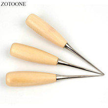 ZOTOONE Canvas Leather Sewing Shoes Wood Handle Tool Awl Hand Stitching Taper Leathercraft Needle Kit Craft Supplies