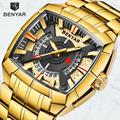 Новые мужские часы Benyar модные повседневные золотые часы мужские роскошные брендовые водонепроницаемые Стальные кварцевые наручные часы м...