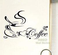 Coffe cup. Arte Home Da Parede do vinil Adesivo, citação decoração Removível Da Parede/home decalque, frete grátis
