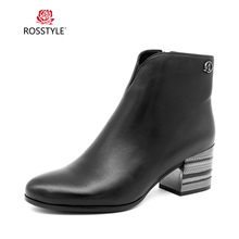 ROSSTYLE Winter Fashion Side Zipper Ankle Boots Handmade Sheepskin Genuine Leather Comfortable Soft Bottom Woman Black B97