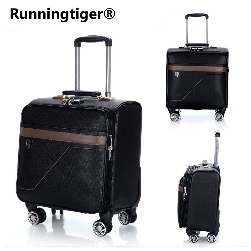 Men's and women's travel luggage Waterproof PU luxury suitcase 18inch Leather Travel Case Pulley Cart Vintage Rolling Suitcase vintage suitcase 20 26 pu leather travel suitcase scratch resistant rolling luggage bags suitcase with tsa lock