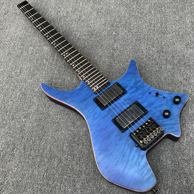Grote Novo Estilo Headless Guitarra Elétrica com Acolchoado de Bordo top, acabamento Acetinado, cor Azul Preto Hardware, rosewood fretboard