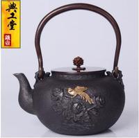 2018 new 1.2L Iron pot Golden Magpie double butterfly cast iron pot Japanese old iron pot South pig iron kettle teapot