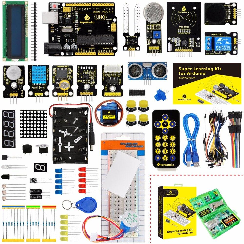 Keyestudio Super kit de démarrage/Kit d'apprentissage (UNO R3) pour l'éducation Arduino avec 32 projets + manuel d'utilisation + RFID 1602 + PDF (en ligne)