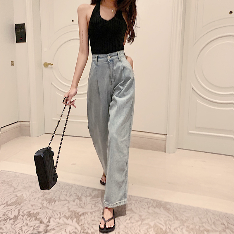 Jeans Woman 2019 Korea High Waist Slim Loose Long Blue Jeans Summer New Solid Color Wide Leg Pants Autumn Straight Jeans Femme