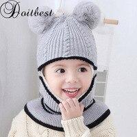 2-6 años sombrero de invierno para niños gorros dos pieles hairball niños  Beanie niño 26577a31ef3