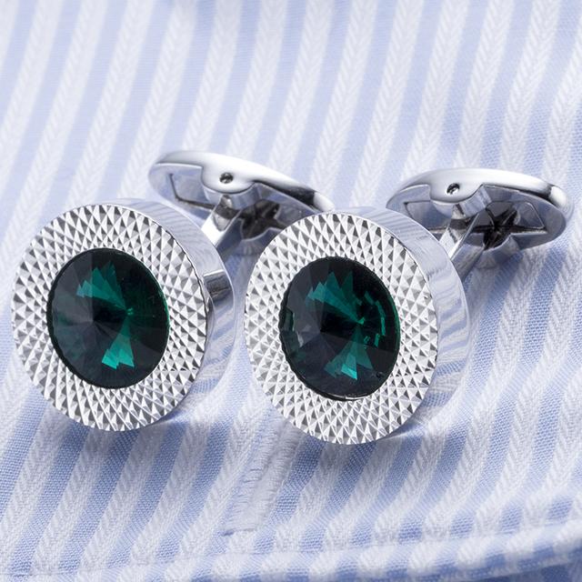 High Men's Cufflink Silver Plating Green Round Zircon Shirt Cuff Links Wedding Cuffs 672