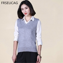 ФОТО frseucag  hot fashion wild new vest v collar solid color cashmere knit short pullover women's jacket vest free shipping