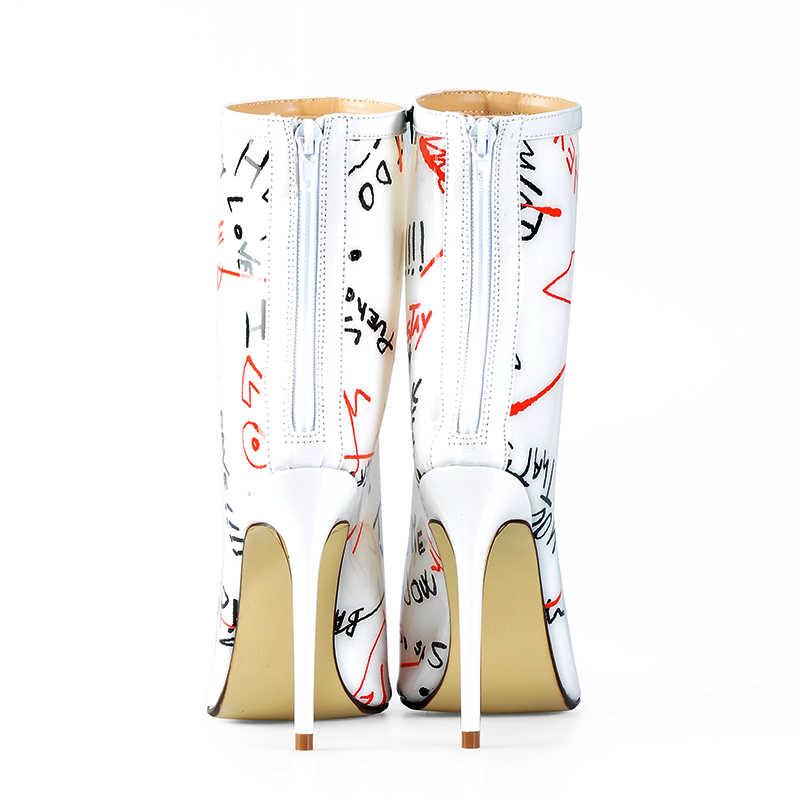 Rosa Palme Della Caviglia Stivali per Le Donne di Autunno della Molla Tacchi Alti Perspex Scarpe Impermeabili IN PVC Trasparente Bianco Graffiti Stivali Della Caviglia Delle Donne