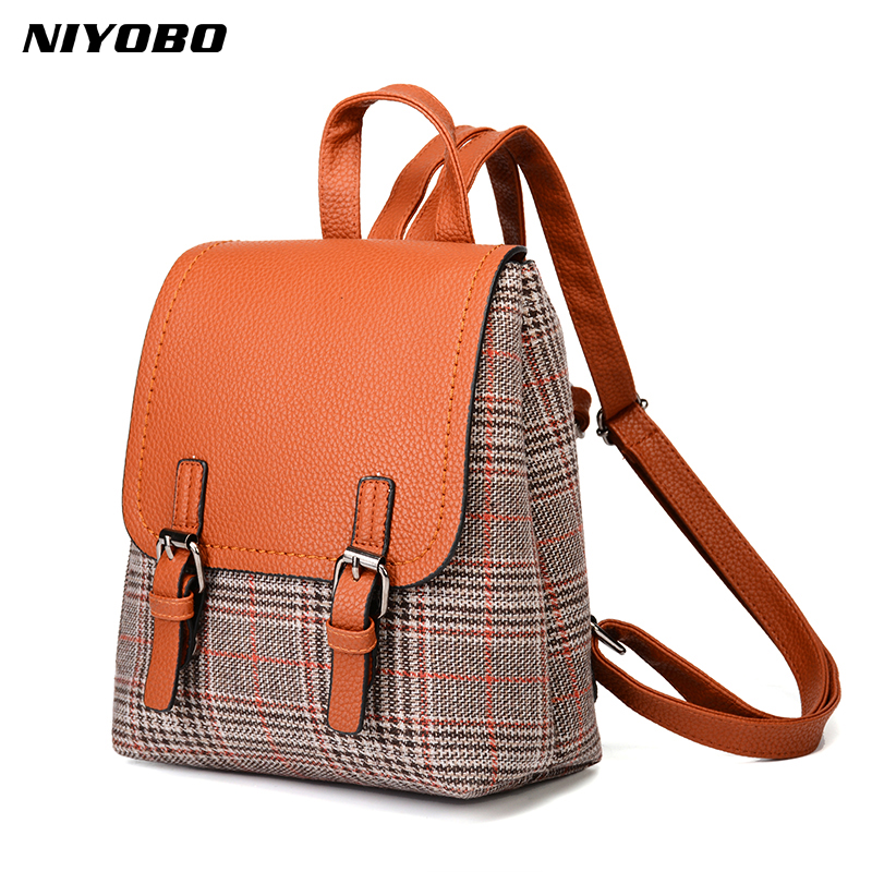 NIYOBO 2018 New PU Leather Woman Backpack All-match Plaid Backpacks for Women Small Bags Wool Patchwork Bag Mini Back Pack