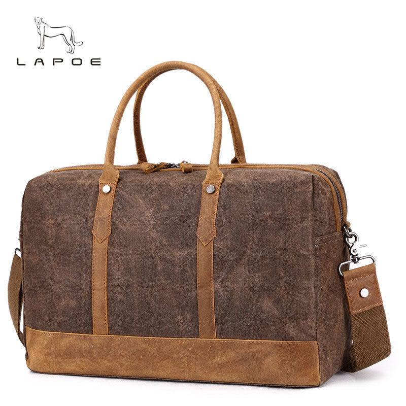 LAPOE Large Capacity Canvas Travel Bags Casual Men Hand Luggage Travel Duffle Bag Big Tote 5Colors Male Crossbody bag waterproof mybrandoriginal travel totes wax canvas men travel bag men s large capacity travel bags vintage tote weekend travel bag b102