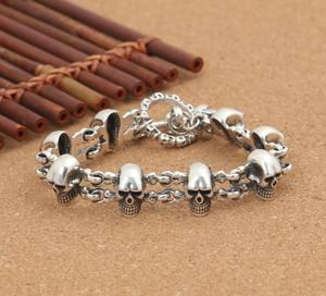 Image 4 - 925 Sterling Silver Punk Rock Skull Charm Hand Chain S925 Bangle Bracelet