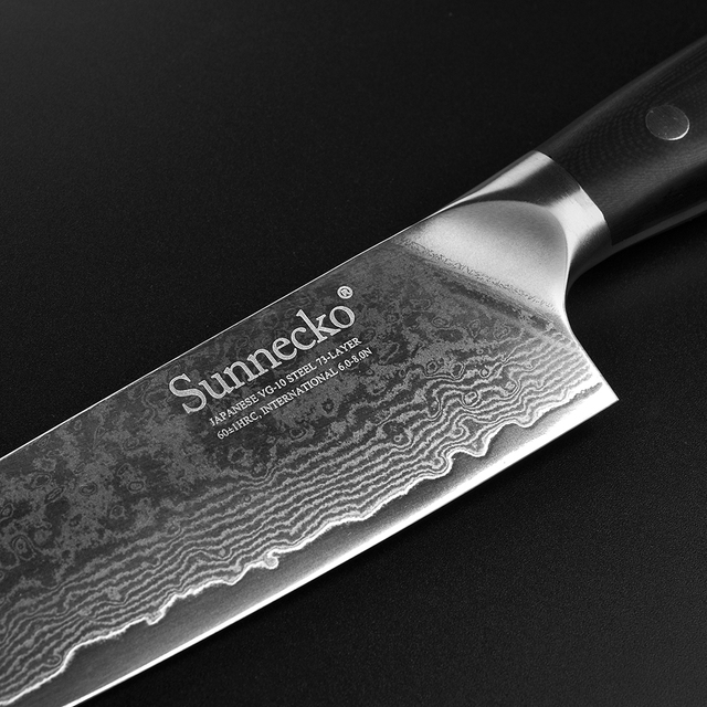 "SUNNECKO Professional 8"" inches Chef Knife Damascus Cut Japanese VG10 Steel Sharp Blade Kitchen Knives G10 Handle Cooking Knife"
