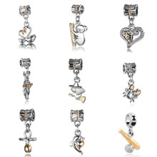 Free Shipping 1pc hanging bead Silver&gold Swan Koala Pacifier Magical Girl Charm Fit Original Pandora Bracelet Jewelry N078(China)