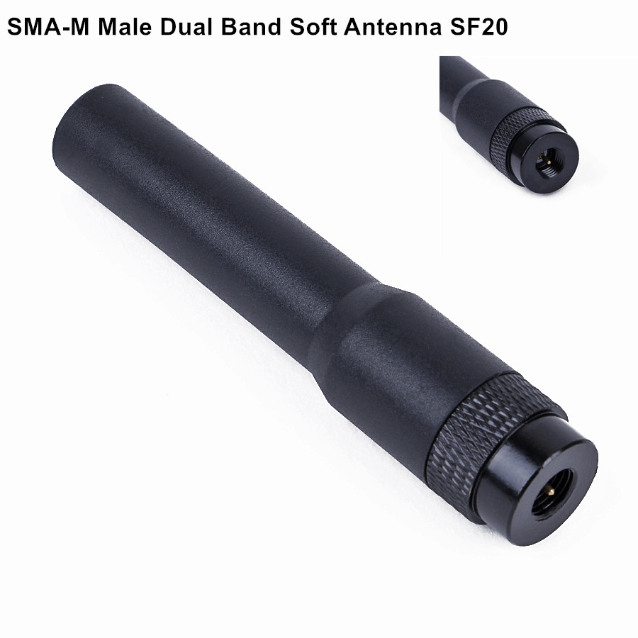 imágenes para Radio portátil mini sma-m macho doble banda suave sf20 antena para baofeng uv-3r kg-uv6d kg-uv8d radio de dos vías sf-20 antena
