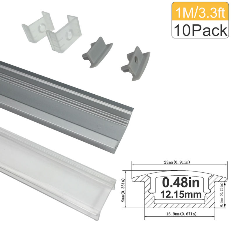 3.3Ft / 1M 10 Pack Clear LED Aluminium Channel U Shape Sliver Profile - LED-belysning