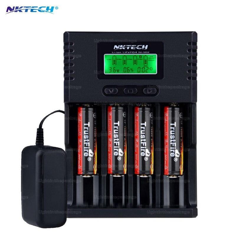 NK H4 VS Soshine H4 Li-ion NiCd NiMh LCD Digital Intelligent 4-Slot Battery Charger with EU US Adapter+4pcs 900mah