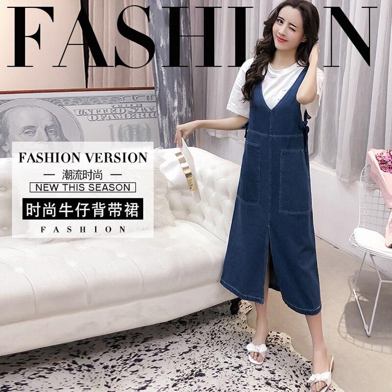 Mode Robe Sans Longue V cou Printemps De Lâche Femmes Denim 2018 Été Robes Manches Jeans 8nB45Zxg