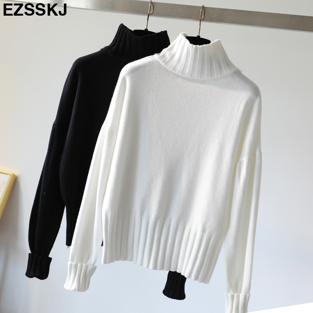 Korean Style oversized Sweater Women Pullover Casual Turtleneck Long Sleeve  loose Knit Sweater Female white black 78da79ada