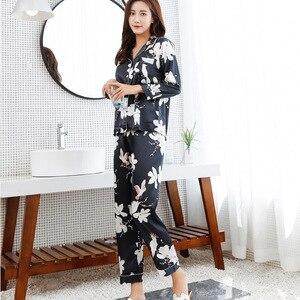 Image 3 - Jrmissli manga longa flor impressão pijamas de seda terno feminino lounge conjuntos de pijama de cetim de seda pijamas pijamas