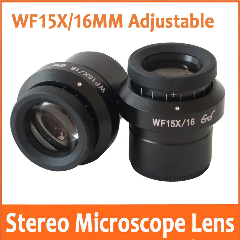 2PCS WF15X 16mm Field of View Zoom Adjustable Lab Stereo Biological Microscope High Eyepoint Eyepiece Optical Lens 30mm purple color 60 led illuminated ring lamps for stereo biological zoom stereo microscope with 220v or 110v adapter