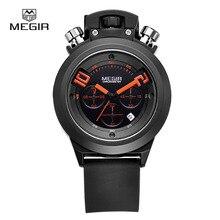 MEGIR hot fashion men watches chronograph analog quartz watch brand silicone band man time waterproof 2004 free shipping