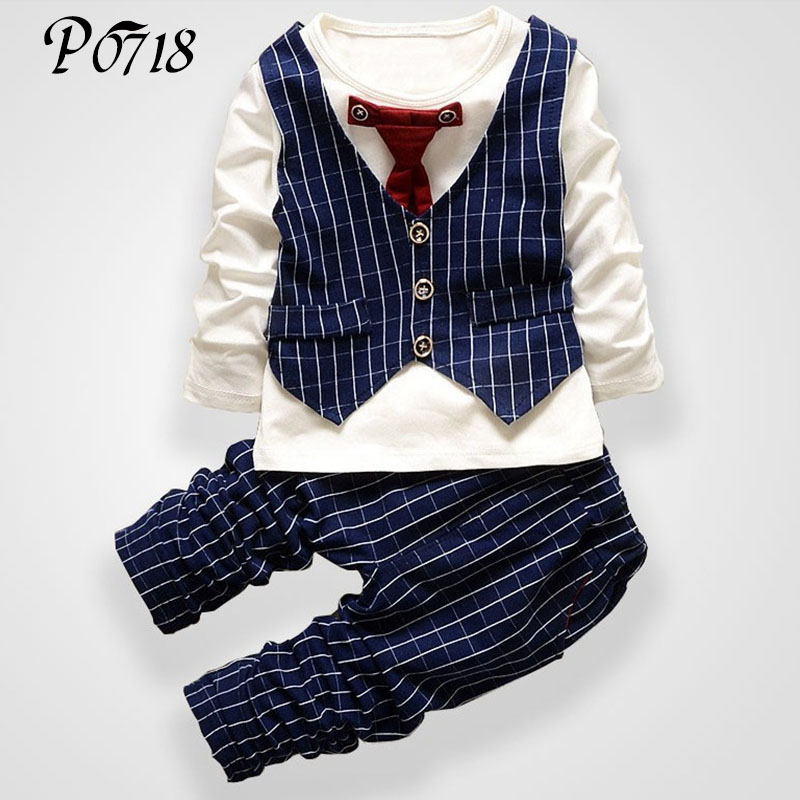 2018 Fashion Baby Boy Clothes Sets Gentleman Fake 2 Pieces Tie Formal Suits Toddler Boys Clothing Long Sleeve Kids Tops + Pants casual kids hoodies clothes boys clothing 2pcs cotton shirt pants toddler boys clothing children suits baby boy clothes sets