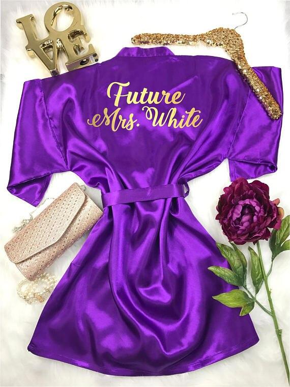 CUSTOM Future Mrs glitter wedding Bridesmaid bride satin pajamas ...