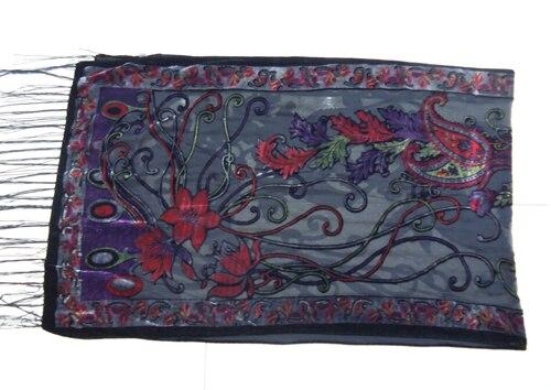 Новые горячие Испания кешью цветы шарфы для женщин выгорания бархат шаль женский весна зима подарок мама, жена - Цвет: gray