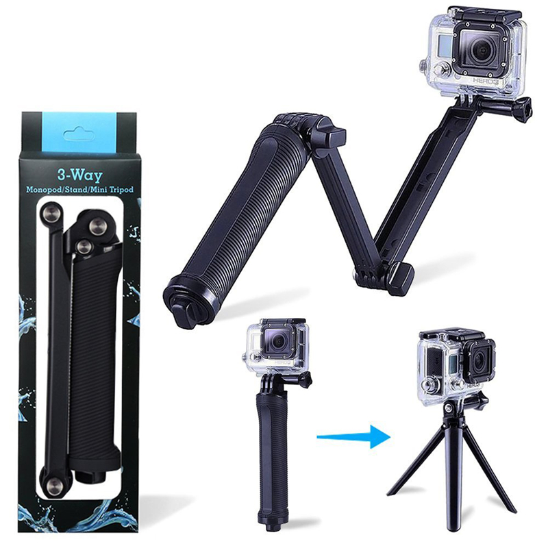 3way handheld gopro selfie vara dobrável extensível suporte da câmera rack portátil à prova dportable água selfie vara aperto gopro acessórios