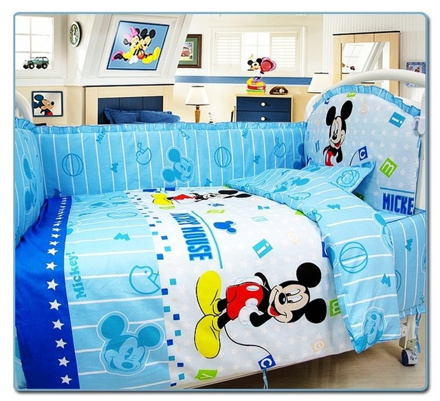 Promotion! 10PCS Mickey Mouse Baby Bedding Sets Crib Cot Bassinette Bumper Padded (bumper+matress+pillow+duvet)
