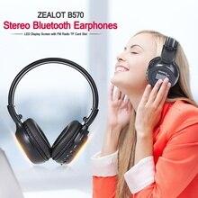 Высококачественные складные HiFi стерео беспроводные Bluetooth наушники с светодиодный экраном fm-радио слот Micro-SD