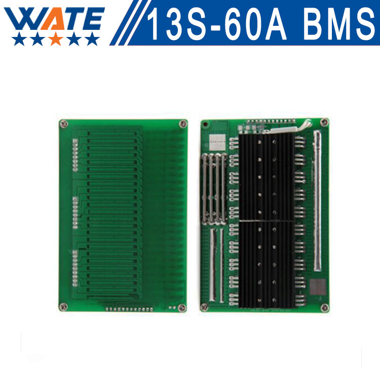 Free shipping 48VBattery Protection13S 60A BMS PCB Board w/ Balance for Li-ion Cell max 60A 120 * 80 * 15mm hot sale battery bms protection pcb board for 3 4 pack 18650 li ion lithium battery cell for rc parts