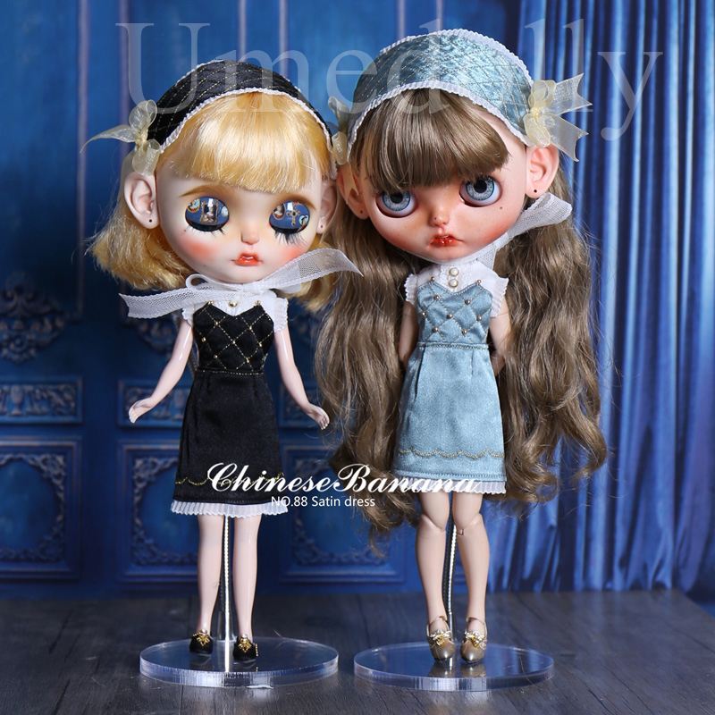 1 Set Handmade Exquisite Classic Blyth Doll Satin Dress for Azone S OB24 Doll Clothes with