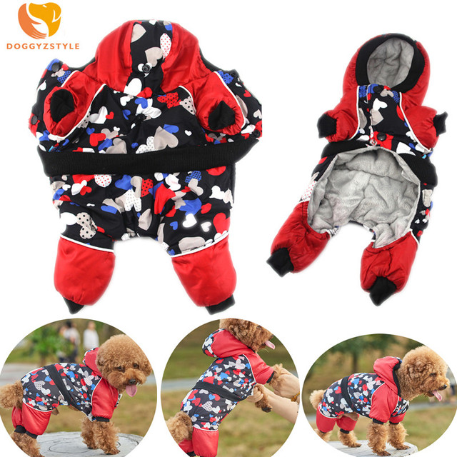 DOGGYZSTYLE Dog Windproof Jumpsuit Winter Pet Dog Clothes Warm Dog Coat Jacket For Small Dogs Clothing Puppy Cat Overalls