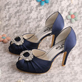 Wedopus MW482 Fashion Dress Shoes Women Navy Satin Spring Autumn Peep Toe