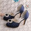 Wedopus MW482 Fashion Dress Shoes Women Navy Satin Spring Autumn Peep Toe