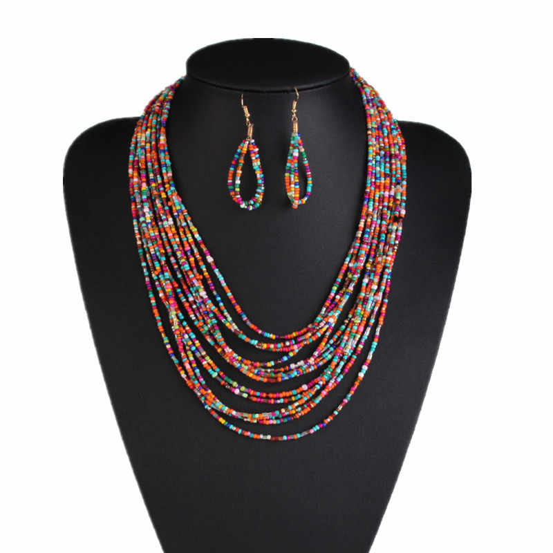 Ethnic Bohemian Beaded Layered Ladies Multi Strand Necklaces Earrings for Women Nigerian Jewelry Set Accessories Bijoux Collares