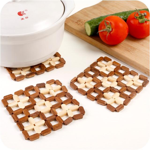 1pc Creative Square Bamboo Coasters Kitchen Tableware Pot Racks Insulation  Pad Round Plate Mat Bamboo Pot
